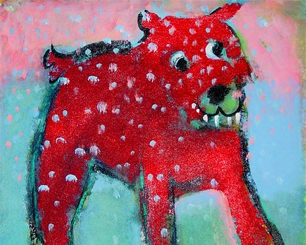 Red Dog with Teeth